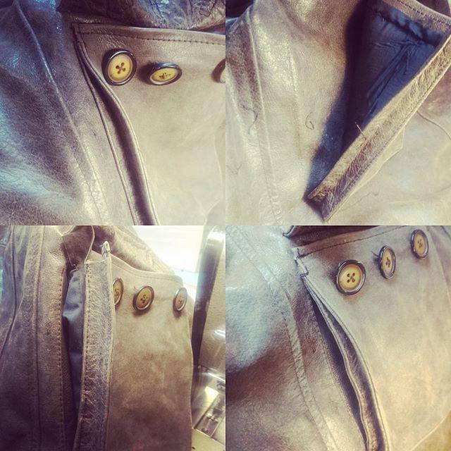 Lite bilder på läderjacka under bearbetning för en extra dold ficka. Din Skräddare i Helsingborg